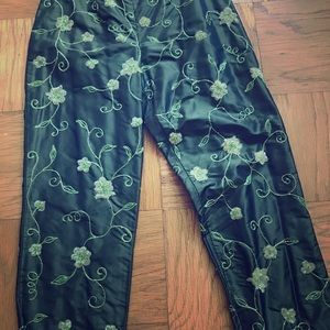 100% silk fitted beaded and embroidered pants